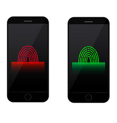 Fingerprint scanning on mobile phone screen vector