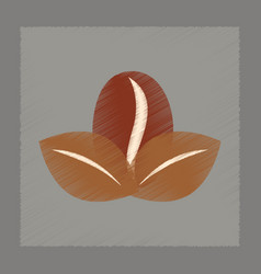Flat shading style icon coffee bean leaves vector