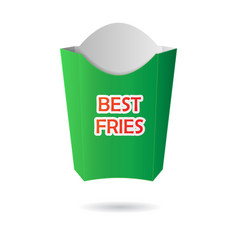 Green french fries package vector