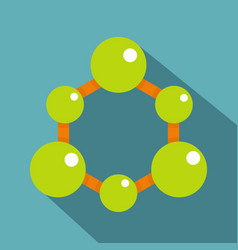 green molecule structure icon flat style vector image vector image