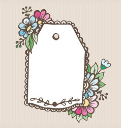 greeting card doodle label with flowers pattern vector image vector image