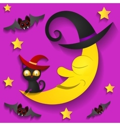 Halloween background with moon in the sky vector image