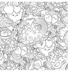 hand drawn heart cat balloon cloud vector image