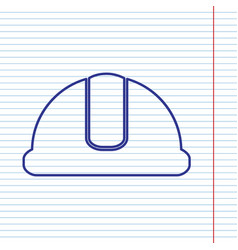 Hardhat sign navy line icon on notebook vector
