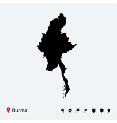 High detailed map of Burma with navigation pins vector image vector image