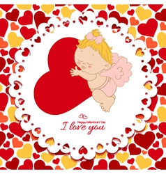I love you card with cupid and hearts vector image vector image