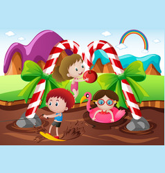 kids playing in chocolate river in fantacy land vector image vector image