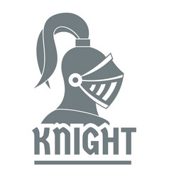 knight helmet logo simple gray style vector image
