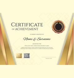 Luxury certificate template with elegant golden vector