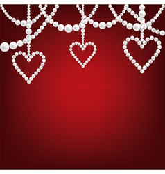 pearl hacklace and heart vector image vector image