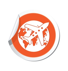 Planeandglobe orange label vector