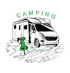 route to camping for navigation vector image vector image