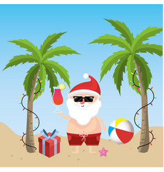 Santa claus in the summer holiday vacation vector