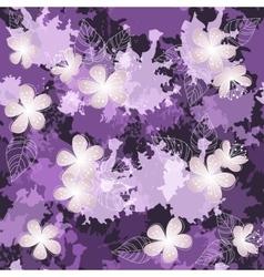Seamless violet flower pattern background vector