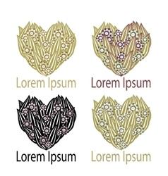 Set Heart Logo element vector image vector image