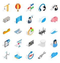 Streetlight icons set isometric style vector
