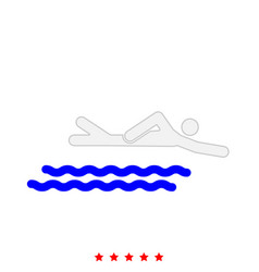 swimming person stick it is icon vector image vector image