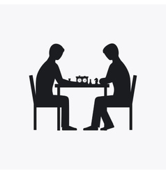 Two people playing chess silhouette vector image vector image