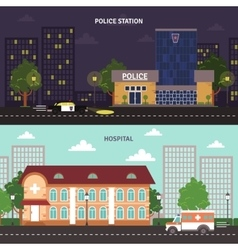 Urban landscape horizontal banners set vector