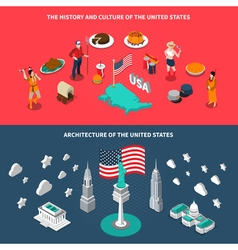 Usa touristic attractions 2 isometric banners vector