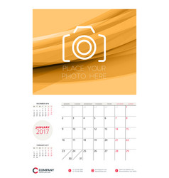 wall calendar planner template for 2017 year vector image