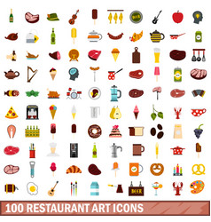 100 restaurant art icons set flat style vector