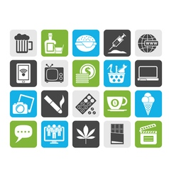 Silhouette different types of addictions icons vector