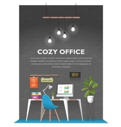 Creative office interior in loft space vector