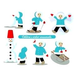 Children winter amusements vector image