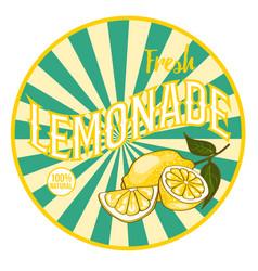 Flat bright healthy lemonade round sticker vector