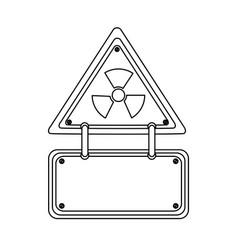 Silhouette metal emblem warning radiation notice vector