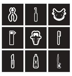 Assembly stylish black and white icons stomatology vector