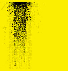 Grunge tire tracks banner yellow vector