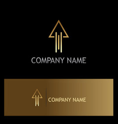 gold arrow up line logo vector image