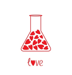 Love laboratory glass with hearts inside card vector