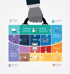 Infographic template with businessman hand hold vector
