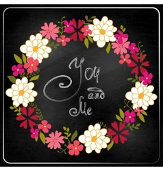 Wreath from spring flowers and herbs vector