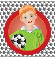 Boy soccer player on the background vector
