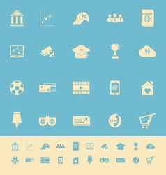 General online color icons on light blue vector