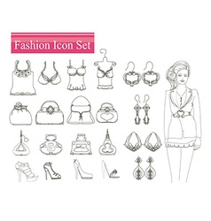 Fashion shopping icon set vector