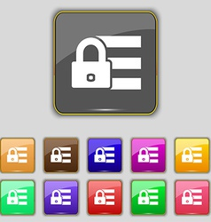 Lock login icon sign Set with eleven colored vector image
