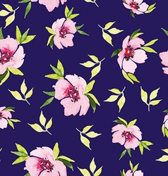 Spring flowers seamless pattern watercolor vector