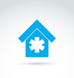 Blue medical building simple hospital icon vector