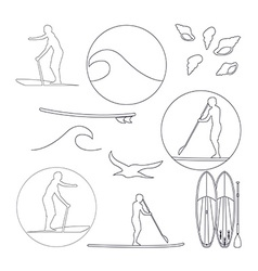 Stand up paddling silhouette linear icon vector