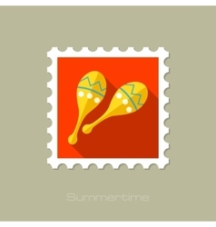 Maracas flat stamp with long shadow vector