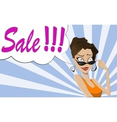 Pop art woman sale sign vector