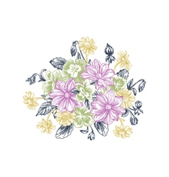 Summer background with a bouquet of flowers vector