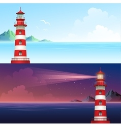 Lighthouse during day and night horizontal banner vector