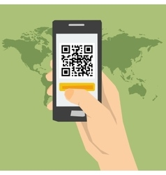 Qr code - hand with phone vector