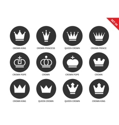 Crown icons on white background vector